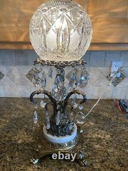 Vintage Antique Hand Cut Lead Crystal Italian Bowl Dome Ball Brass Marble Lamp