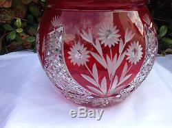 Vintage Bohemia 24% Lead Hand Cut Pear Shaped Red Crystal Large Candy Box Nib
