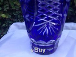 Vintage Bohemia Flower Cut Cobalt Blue 24% Lead Cased Round Crystal Vase 10 Nib