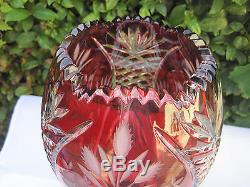 Vintage Bohemia Gold Ruby Flower Cut 24% Lead Crystal Jar Shape Vase 12 Nib