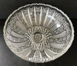 Vintage Bohemia Queen Anne Lace Hand Cut Lead Crystal Large Bowl 11