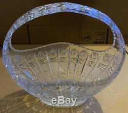 Vintage Bohemia Queen Lace 24% Lead Hand Cut Crystal Basket Large 12'