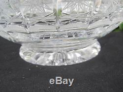 Vintage Bohemia Queen Lace Hand Cut 24% Lead Crystal Round Pedestal Bowl 10