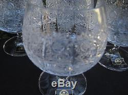 Vintage Bohemia Queen Lace Hand Cut Lead Crystal Brandy Glass 8.5 Oz 6 Pc