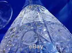 Vintage Bohemia Queen Lace Hand Cut Lead Crystal Wine Goblet 12 Oz (340ml) 6 Pc