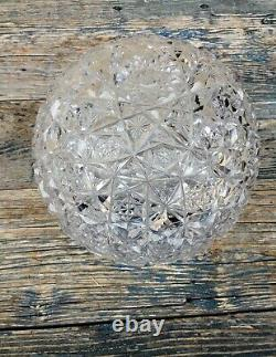 Vintage Bohemian Queen Lace Czech Hand Cut 24% Lead Crystal Round Fishbowl Vase