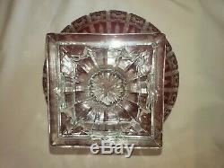 Vintage Cobalt Red Czech Bohemian Lead Crystal Cut to Clear Heavy Bowl