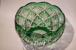 Vintage Collection Emerald Green Brilliant Cut 24% Lead Crystal Glass Vase 9x9