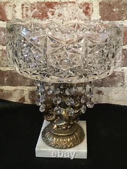 Vintage Cut Lead Crystal Compote Brass Stem Cherub on Fish Footed Marble Base