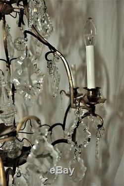Vintage Cut Lead Crystal Glass and Brass 6 candle electric Handmade Chandelier