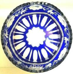 Vintage Czech Bohemian Cobalt Blue Glass Cut to Lead Crystal Saw Tooth Bowl