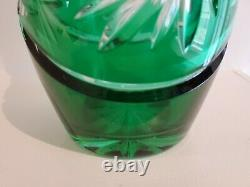 Vintage Dresden Emerald Green Cut To Clear 24% Pbo Lead Crystal Decanter 15 1/2