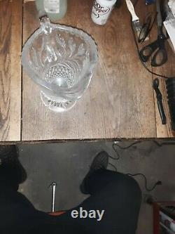 Vintage Germany Hand Cut Frosted Flower Design-24% Lead Crystal Pitcher-WOW