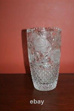 Vintage Hand-Cut Lead Crystal Flower Vase, Heavy Glass Etched 10 Tall