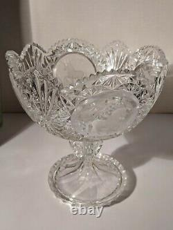 Vintage Hofbauer Crystal Unicorn Footed Compote Germany Lead Cut Pedestal Bowl