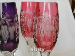 Vintage Hungary Cut to Clear 24% Lead Crystal Marsala Champagne Flutes Set/6
