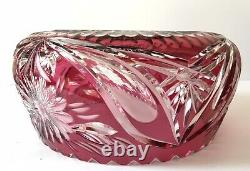Vintage Imperlux Germany Ruby Red To Clear Lead Cut Crystal Bowl