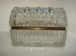 Vintage Imperlux Large Hand Cut 24% Lead Crystal Treasure Chest Jewelry Casket