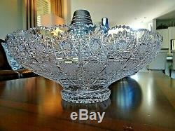 Vintage Large Bohemia Czech Hand Cut Lead Crystal Footed QUEEN ANNE LACE BOWL