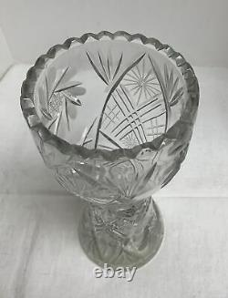 Vintage Large Flower Vase Deep Hand-Cut Lead Crystal Heavy Glass Etched 10 Tall
