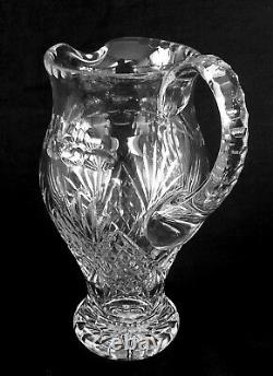 Vintage Lausitzer Glas East Germany heavy full lead cut crystal pitcher, 10 inch