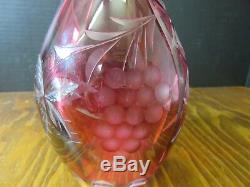 Vintage Lausitzer Leaded Crystal Ruby Cut To Clear Etched Decanter Genie Bottle