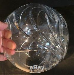 Vintage Lead Cut Crystal 8 Rose Bowl Vase Hand Made Made In Portugal w Sticker