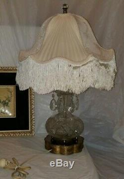 Vintage Lead Cut Crystal Table Lamps with 6 lg Prisms & Brass Base, 24 Tall