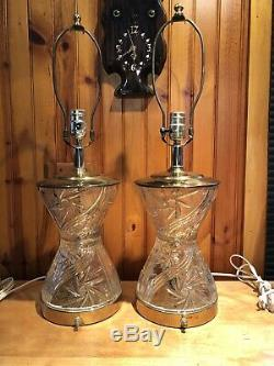 Vintage Matched Pair Lead Crystal Lamps In Polished Brass Star Cut Yugoslavia