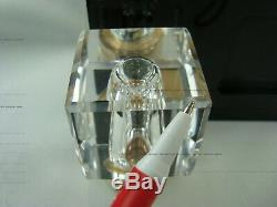 Vintage Montblanc Hand Cut Lead Crystal Inkwell With Stand Gold/black Germany