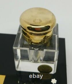 Vintage Montblanc Hand Cut Lead Crystal Inkwell With Stand Gold/black W Germany