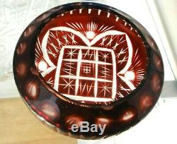 Vintage New Rounded Cigar Cigarette Ashtray Red Leaded Crystal 4D Amazing Cut