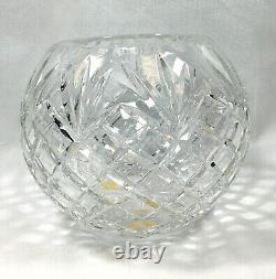 Vintage OFNAH Hand Cut Crystal Rose Bowl 24%PBO lead Made in Poland Pineapple