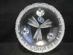 Vintage Queen Lace Bohemian Czech 7 Footed Bowl Hand Cut 24% Lead Crystal Glass