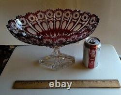Vintage Stunning Czech Bohemian Lead Crystal Cut To Clear Ruby Red Compote Bowl