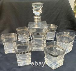 Vintage WHISKY Lead Crystal Cut Glass Sterling Silver 925 Decanter and 6 Glasses