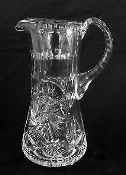 Vintage heavy full lead cut crystal pitcher, 9.5 inches