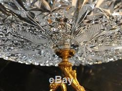 Vnt Bohemian Cut Lead Crystal Serving Platter Footed Gold Plated Swan Base