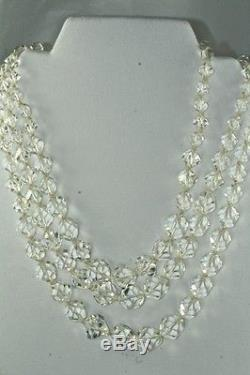 Vtg 1950's Triple Stand Heavy Lead Crystal Unusual Cut Glass Beads Necklace