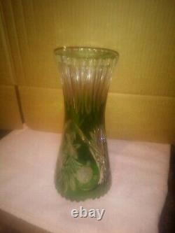 Vtg. Lausitzer Bleikristall Cut Lead Crystal Vase Green to Clear GDR Germany