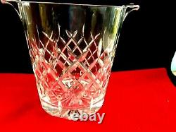 Vtg. Lead Cut Crystal Ice Bucket Shampagne Whisky Wine Decanter Bar Accessories