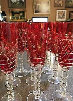 Vtg Ruby Red Cut Lead Crystal Wine Gles Champagne Flutes