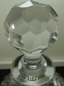Vtg. West Germany Hand Cut Lead Crystal Whiskey Liquor Decanter with Stopper