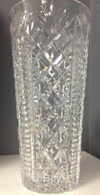 WATERFORD Clear Faceted Heavy Cut Lead Crystal 10 Inch Clare Patterned Vase SR