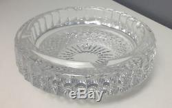 WATERFORD Heavy Clear Cut Lead Crystal Round Patterned Ashtray 7 Inch SR