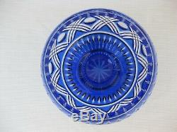 Waterford Bowl NEW $250 Lead Crystal Cobalt Blue Cased Cut to Clear 6 Bowl