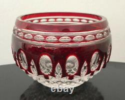 Waterford Cranberry Cased Cut To Clear Crystal Bowl Mint Rare