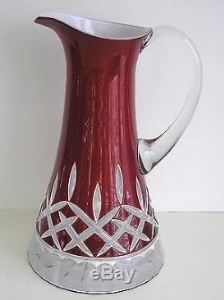 Waterford Lismore Ruby Red Cased Cut To Clear Waterford Signed