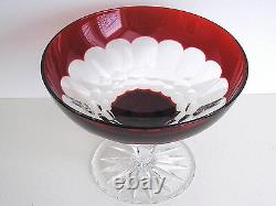 Waterford Simply Red Ruby Cased Cut To Clear Crystal Comport Salad Desert