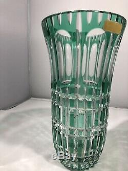 West Germany Hand Cut Lead Crystal Emerald Green Glass Vase
